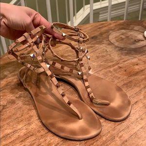 Schutz Nude Leather Studded Sandals 8
